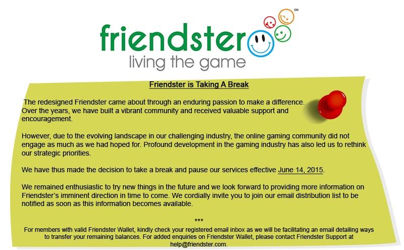 Friendster Announcement