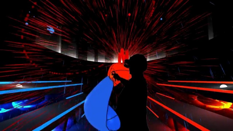 A mixed-reality image of a player inside of Audioshield.