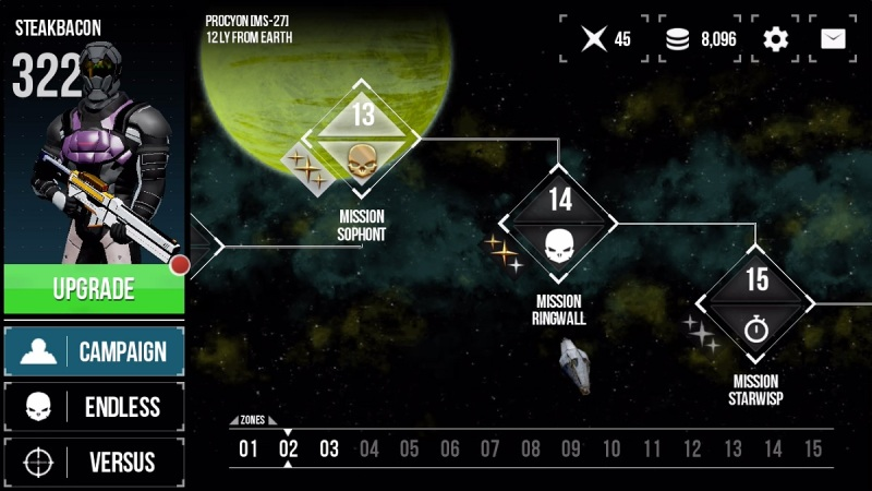 Midnight Star: Renegade has lots of short missions.