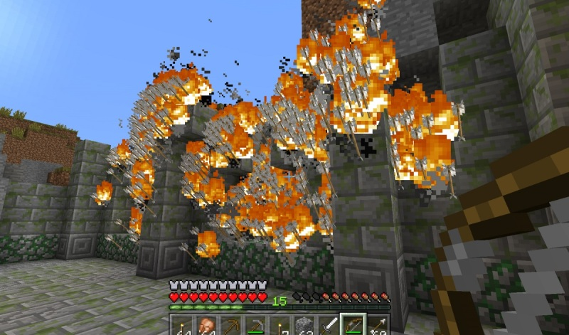 Flaming arrows in Minecraft on the Oculus Rift.