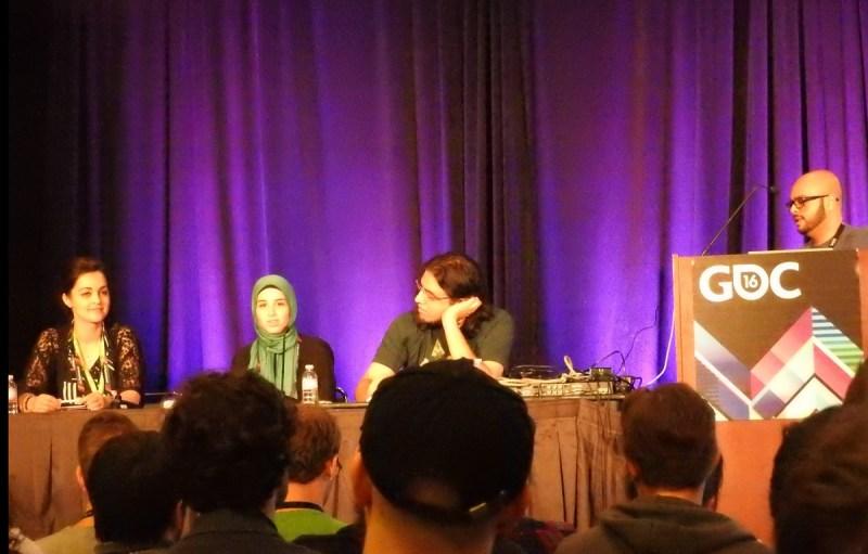 GDC panel on Muslims: (left to right) Romana Ramzan, Farad Khalaf, Rami Ismail, and Imad Khan.