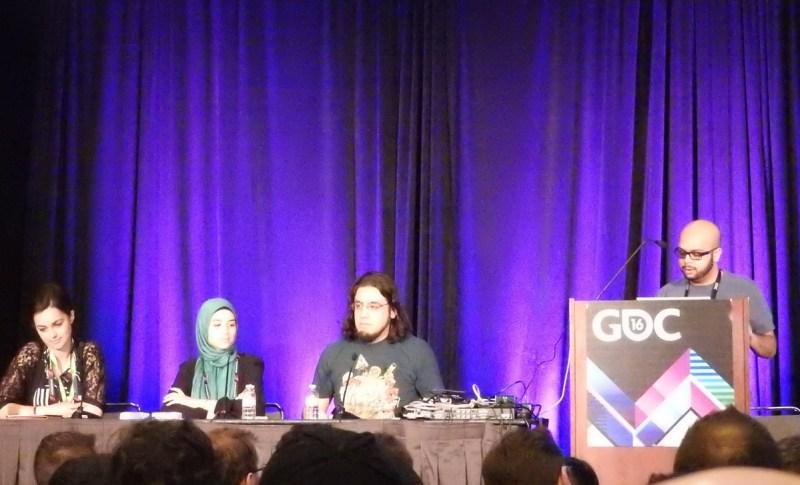 Muslim panel at GDC: (left to right) Romana Ramzan, Farad Khalaf, Rami Ismail, and Imad Khan.