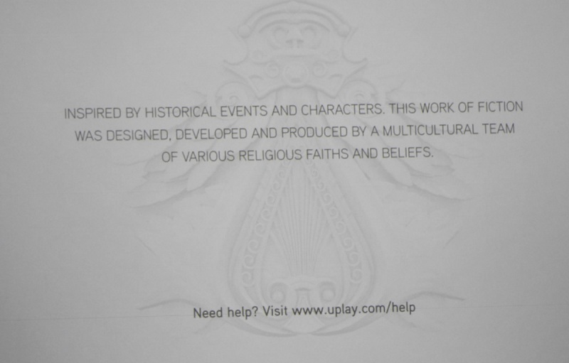 The disclaimer on the Assassin's Creed games.