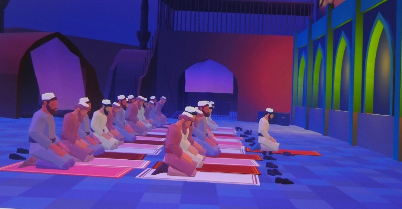 A prayer session in a Muslim-created game.