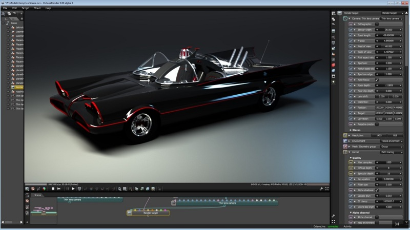 Otoy's OctaneRender uses ray-traced graphics for nearly unlimited details and lighting effects.