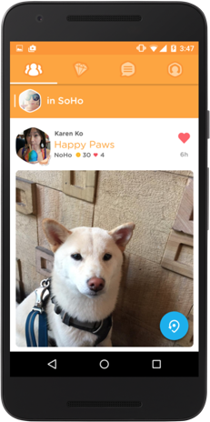Foursquare Swarm app featuring photo in feed update