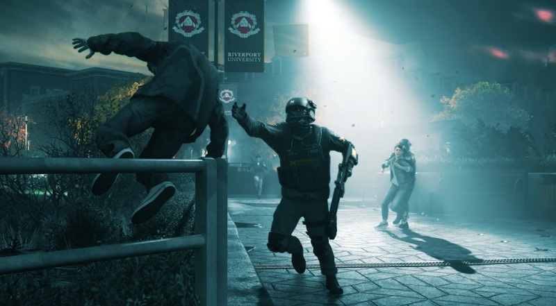 These people are frozen in time in a scene of Quantum Break.