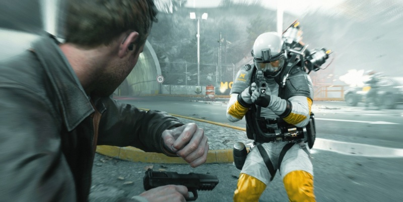 This guy has the drop on Jack Joyce in Quantum Break, but time is on Jack's side.