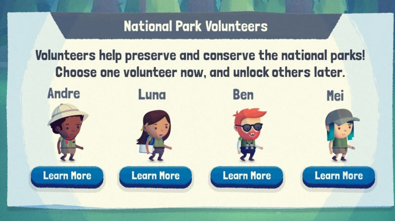 Save the Park has four characters who represent different passions for volunteerism.