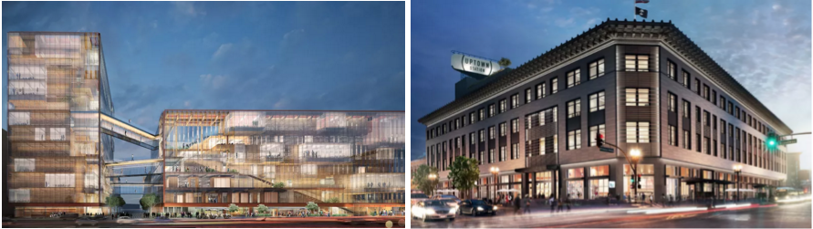L: Plans for Uber's new Mission Bay offices in SF. R: Uber's new Oakland office.