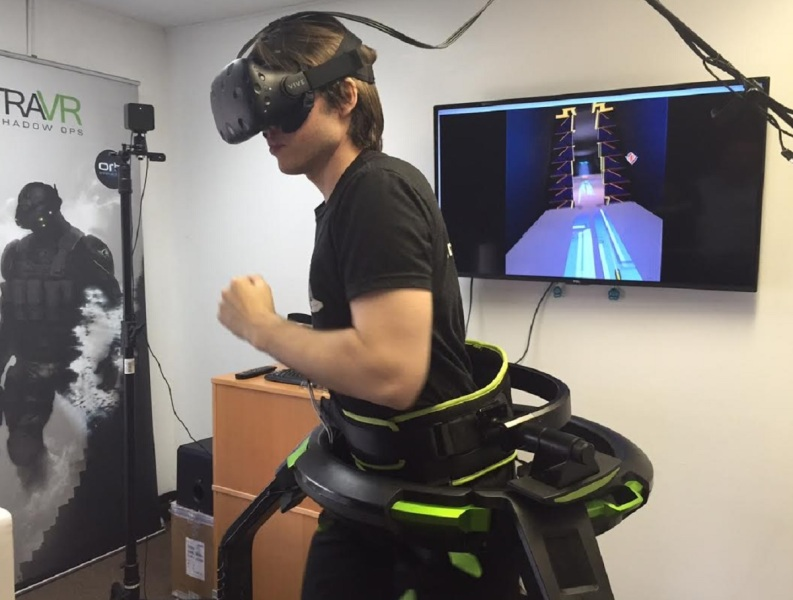 The Omni treadmill makes you exercise in VR games.