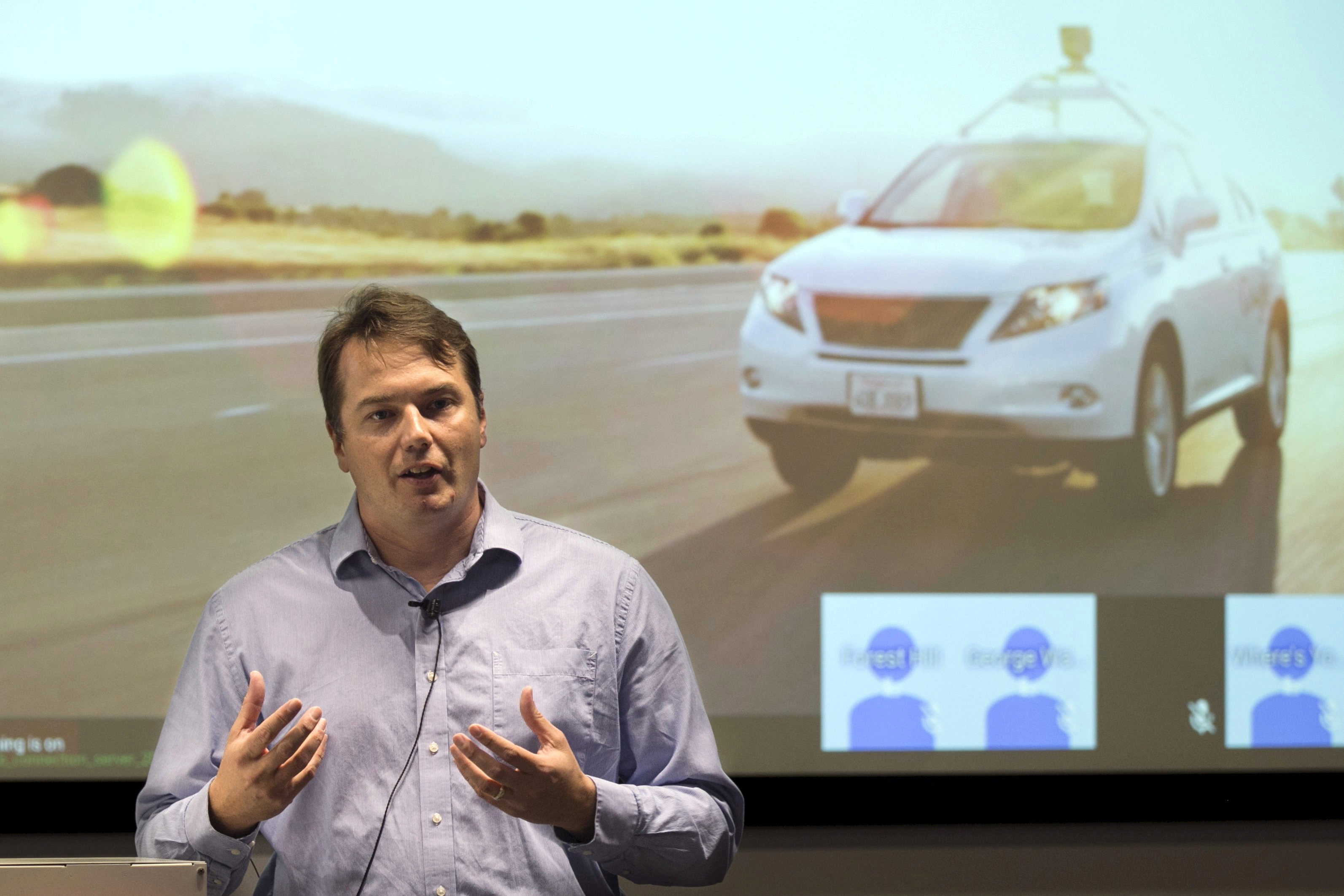 Chris Urmson, director of the Self Driving Cars Project at Google, speaks during a preview of Google's prototype autonomous vehicles in Mountain View, California, U.S., September 29, 2015. REUTERS/Elijah Nouvelage/File Photo