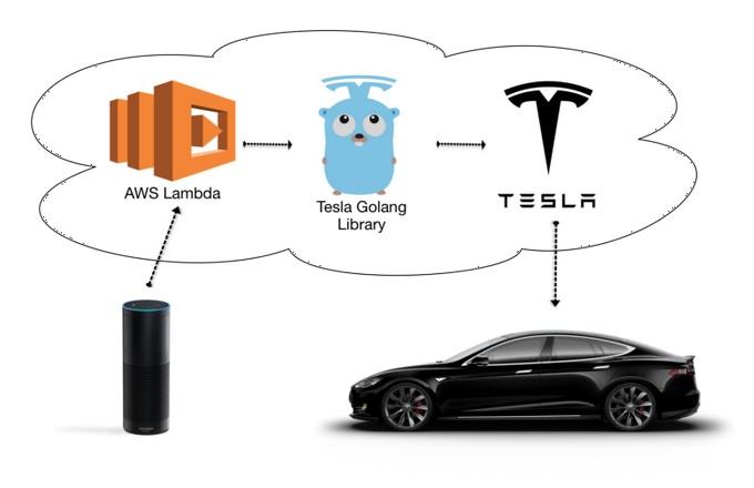 Alexa commands Tesla