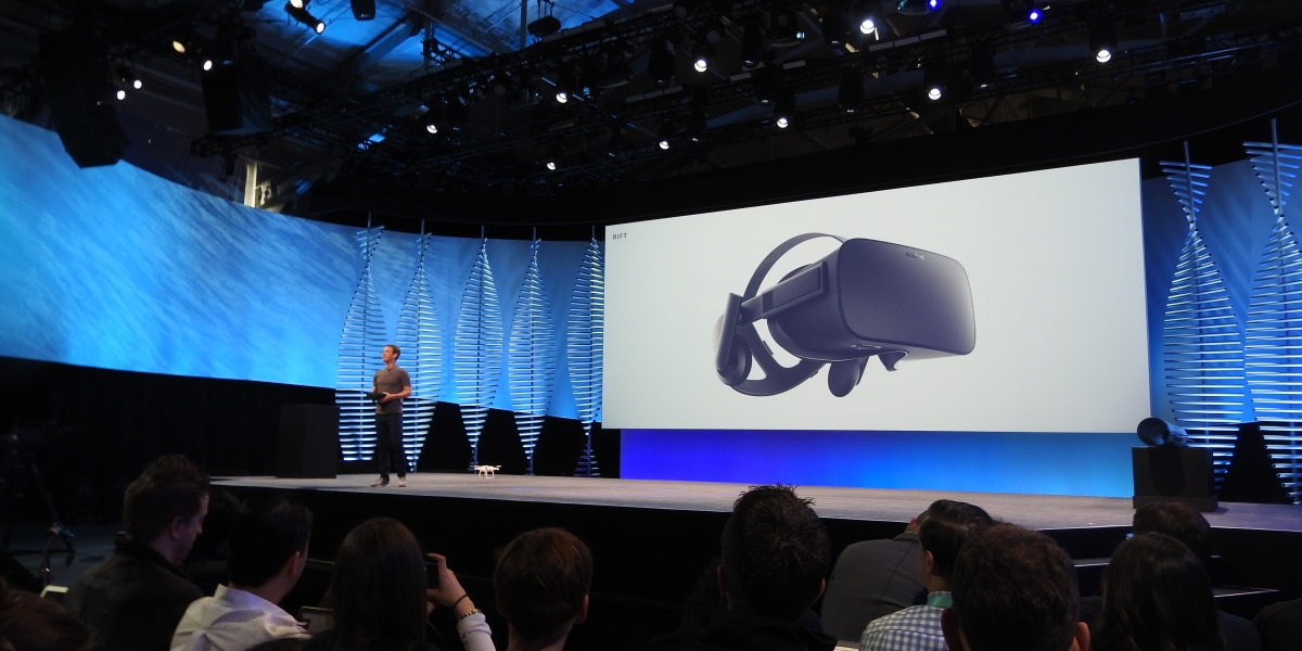 Mark Zuckerberg shows off the Oculus Rift at Facebook's F8 event in 2016.