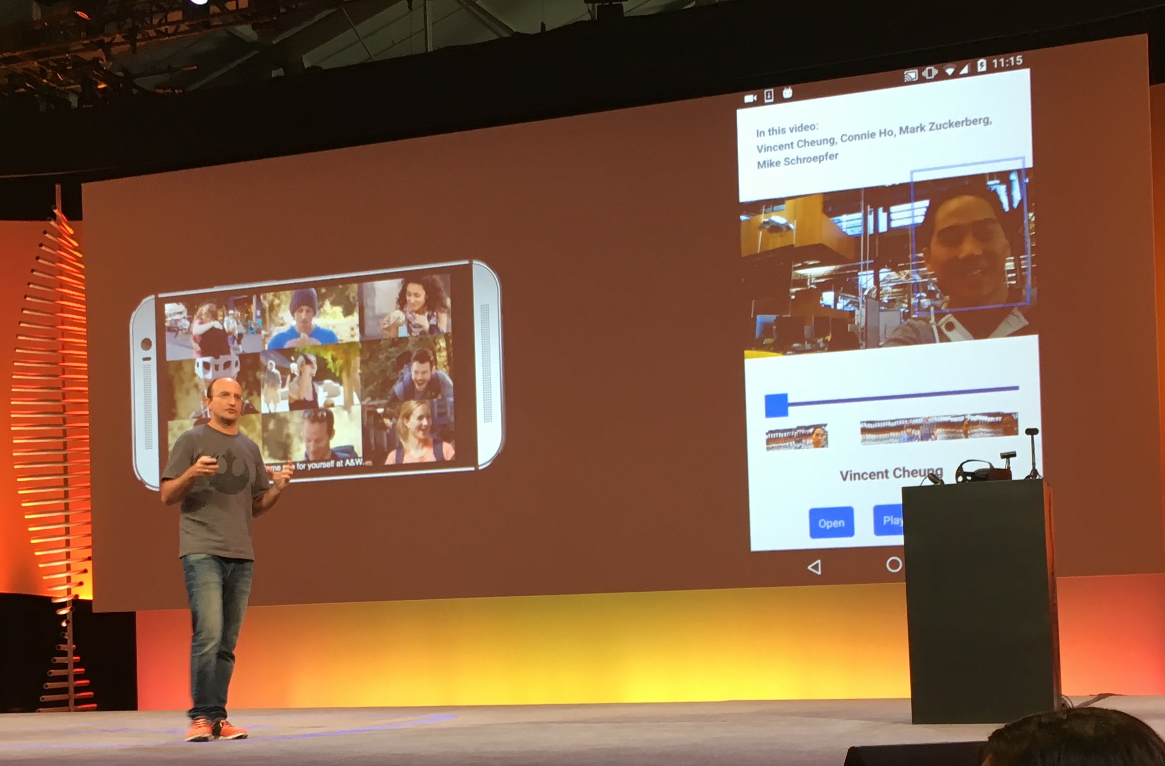 Joaquin Quiñonera Candela, Facebook's director of applied machine learning, talks about Facebook's latest AI research efforts around video at the company's F8 developer conference in San Francisco on April 13, 2016.