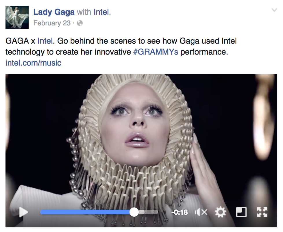 Facebook Branded Content: Lady Gaga