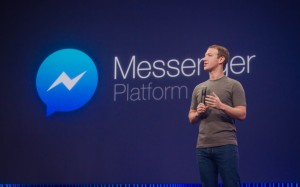 Facebook CEO Mark Zuckerberg on stage at the F8 2015 developer conference talking about the Messenger Platform.