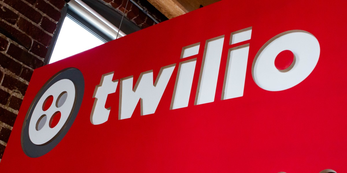 A picture shows a sign with Twilio's logo on it.