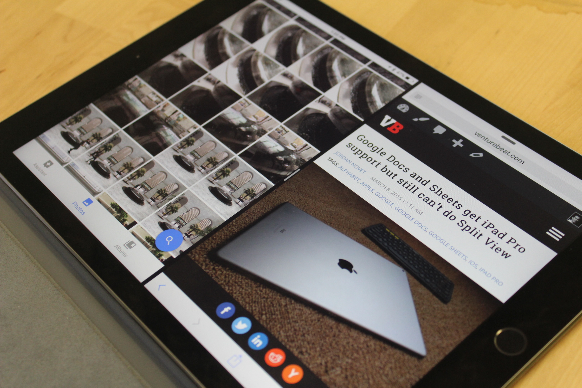 The iPad Pro in Split View.