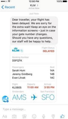 KLM bot on Facebook Messenger