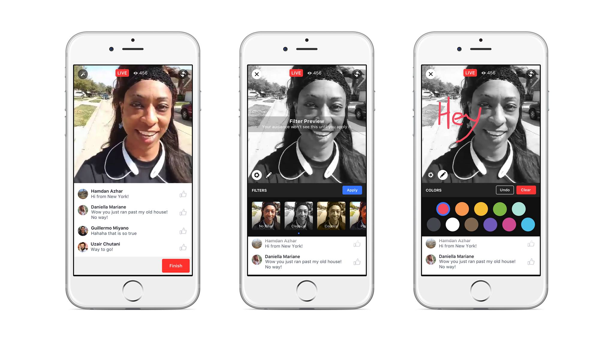 Facebook's creative tools: filters and doodling while livestreaming