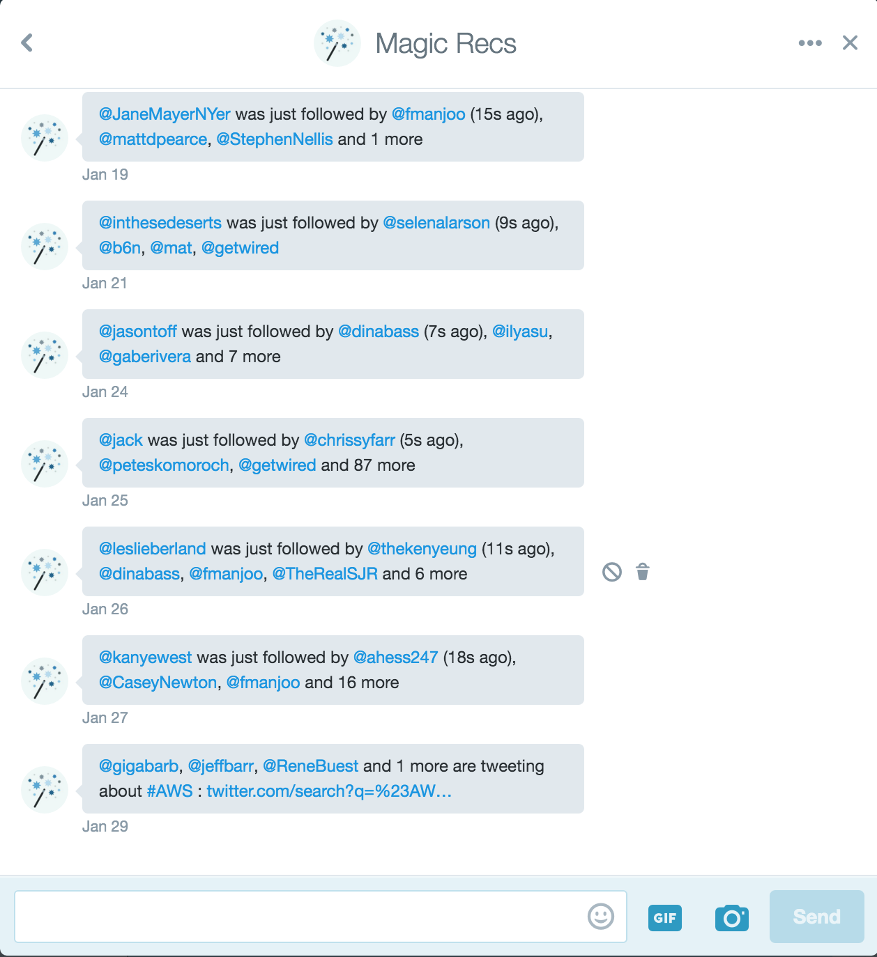 What Twitter's @MagicRecs account sends you by direct message.