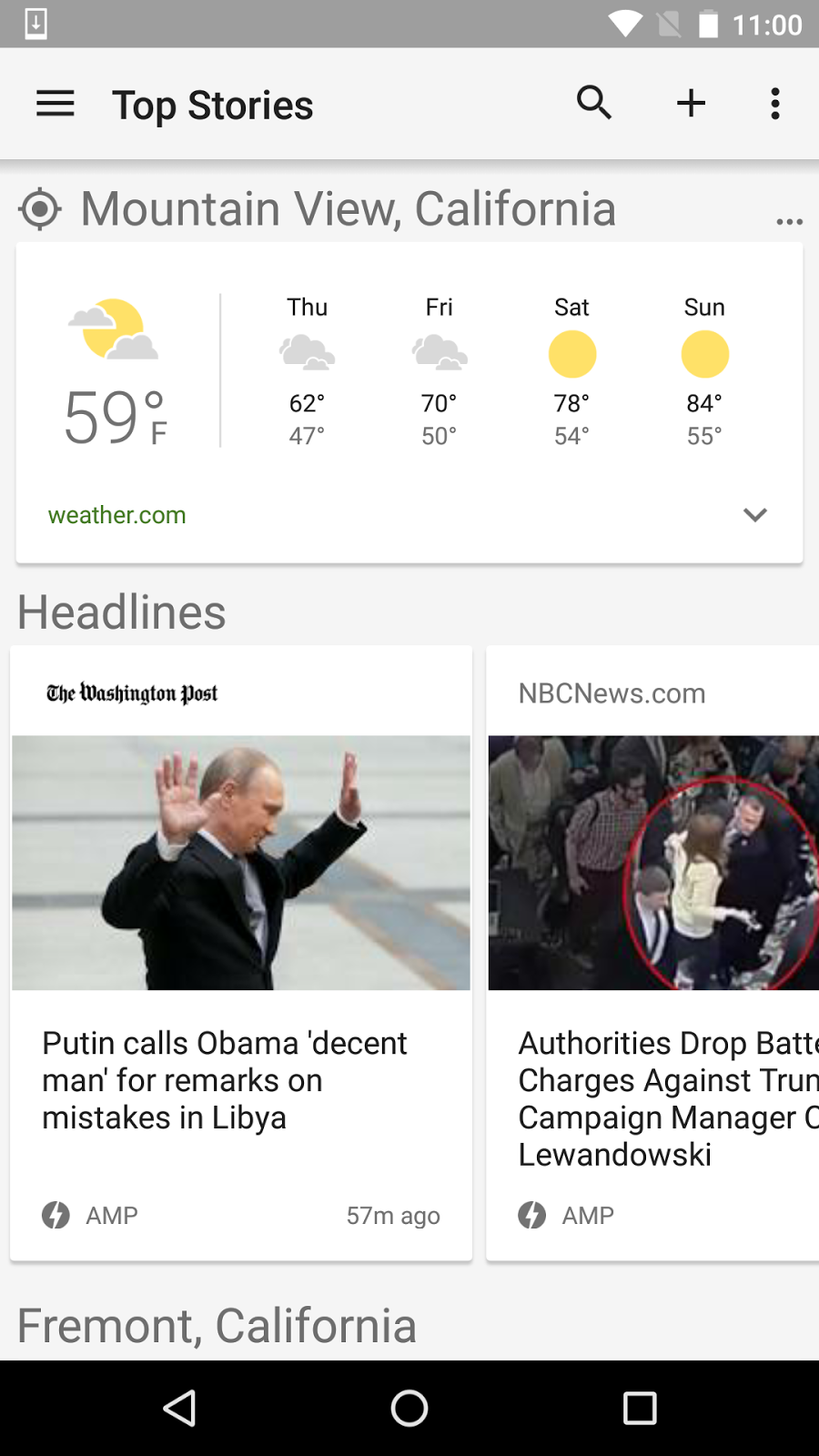 AMP articles in Google News on Android.