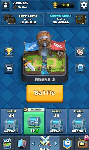 I'm stuck at arena 3 and 960 trophy points, but I'm still able to keep playing Clash Royale.