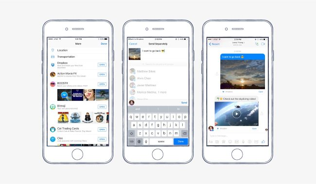 Dropbox has integrated with Facebook Messenger.