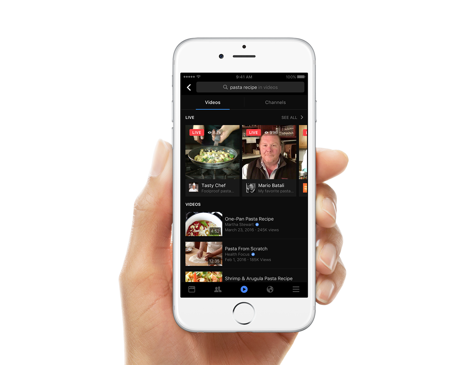 Facebook Video Search on Mobile