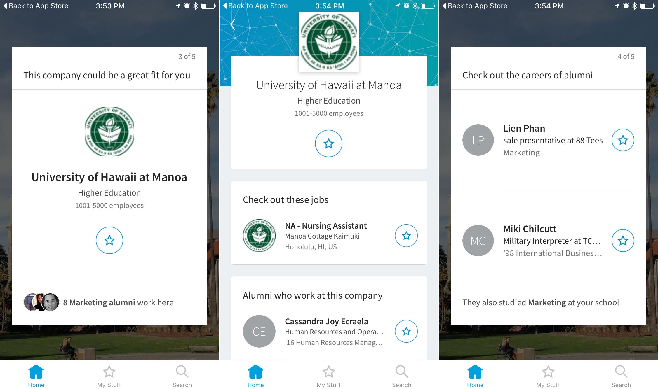 Screenshots of LinkedIn's Students iOS app showing a company you might want to apply for and alumni from your school you should connect with.