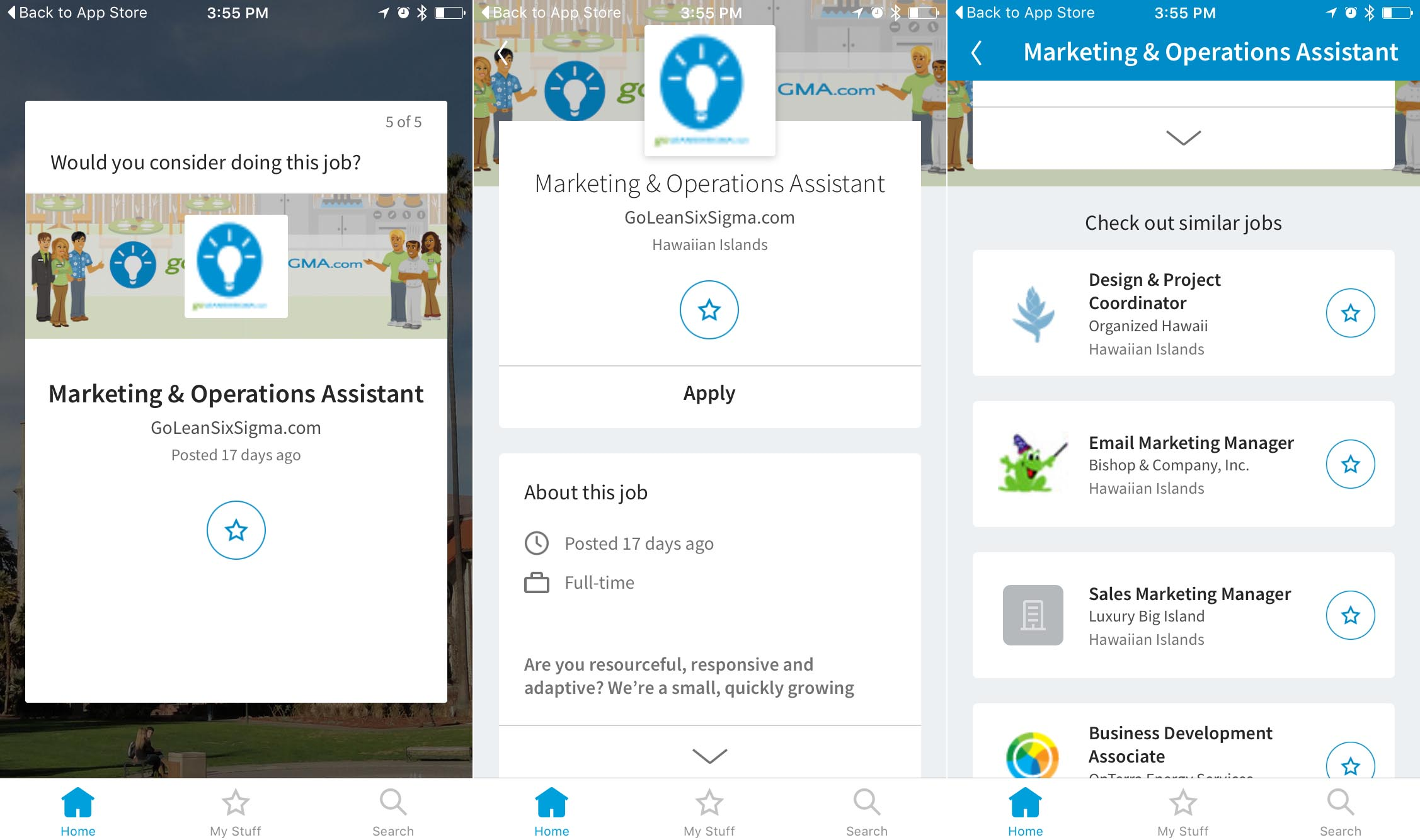 Screenshots of LinkedIn's Students app showing a job posting you might want to apply for.