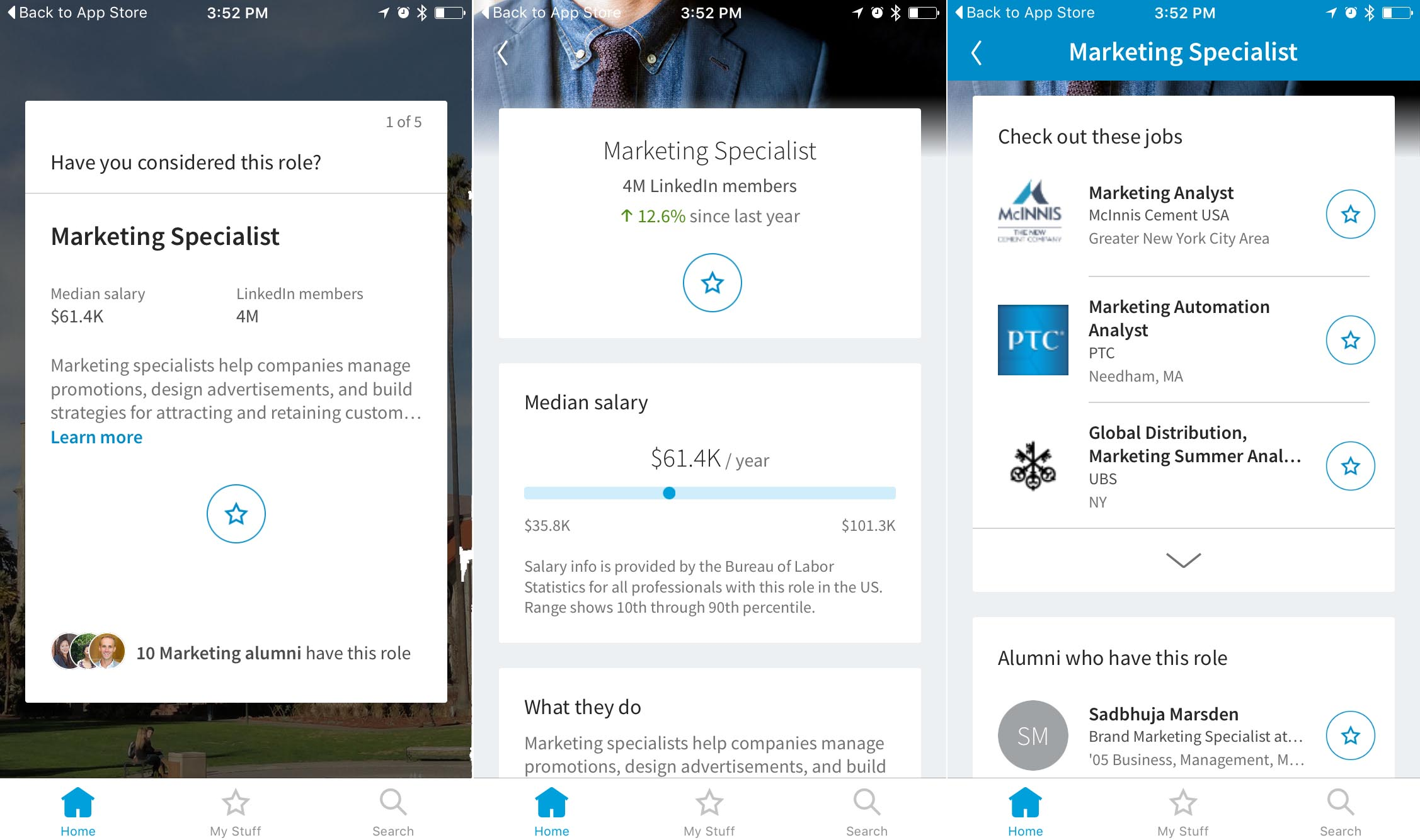 Screenshots of LinkedIn Students iOS app displaying what role you might be interested in.