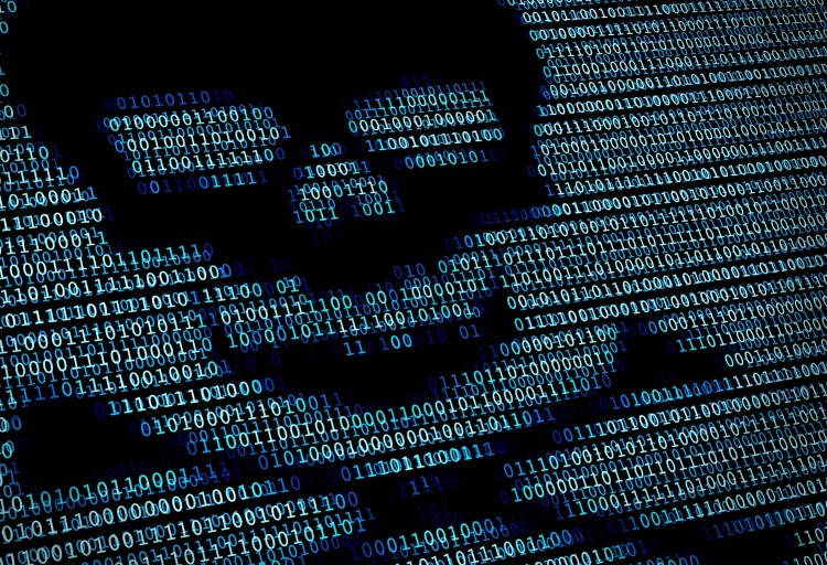 Image of a skull and crossbones surrounded by code.