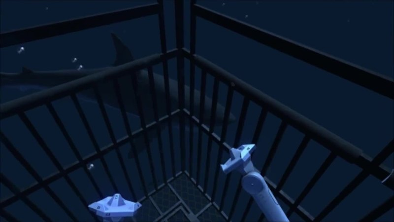 Inside the shark cage in Ocean Rift.
