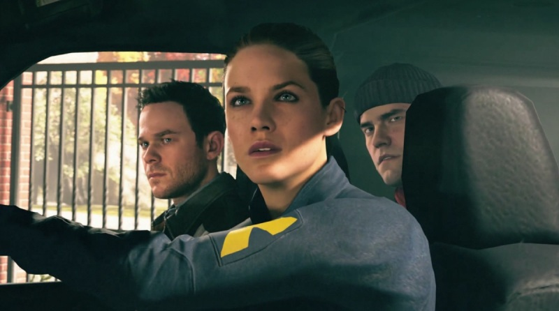 Beth Wilder (Courtney Hope), Jack Joyce and Nick in Quantum Break.