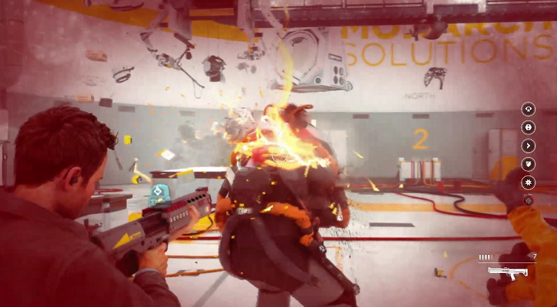 Shoot the tank from behind in Quantum Break.