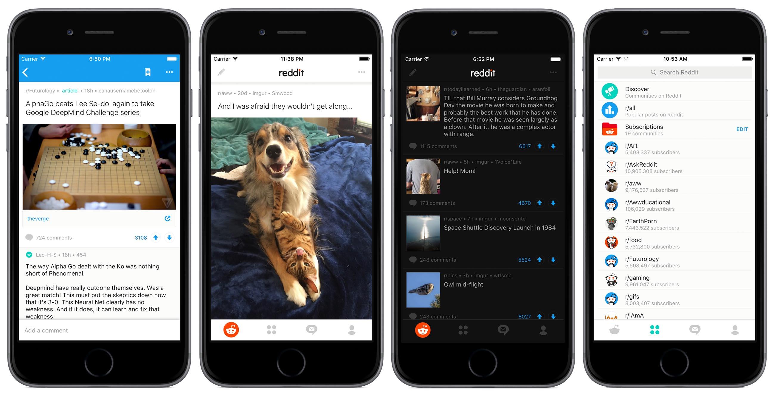 Reddit for iOS screens