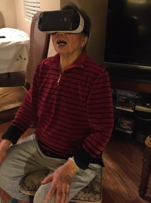 My mother-in-law Tan tries out the Samsung Gear VR.