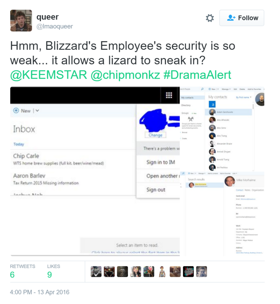 This is one of three screen grabs showing alleged information of a Blizzard employee's email.