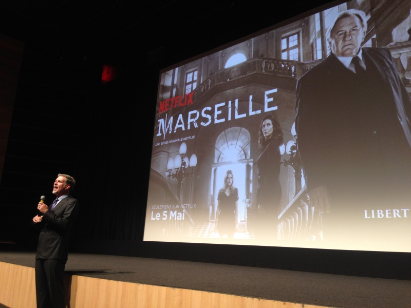 "Netflix CEO Reed Hastings speaks just before the premiere of ""Marseille."""