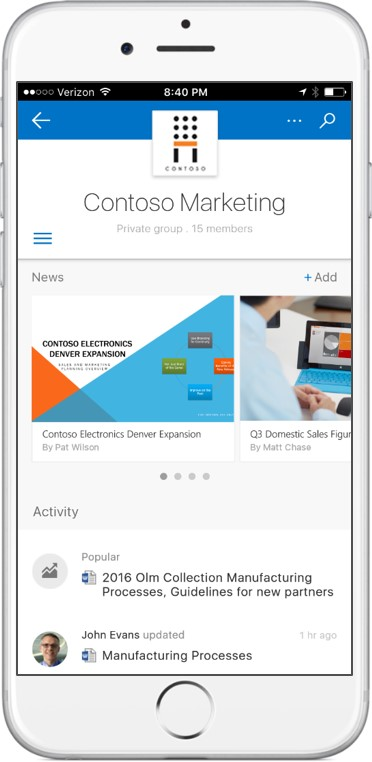 The forthcoming SharePoint iOS app.