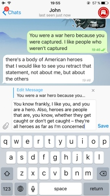 An example of how to edit a message within Telegram.