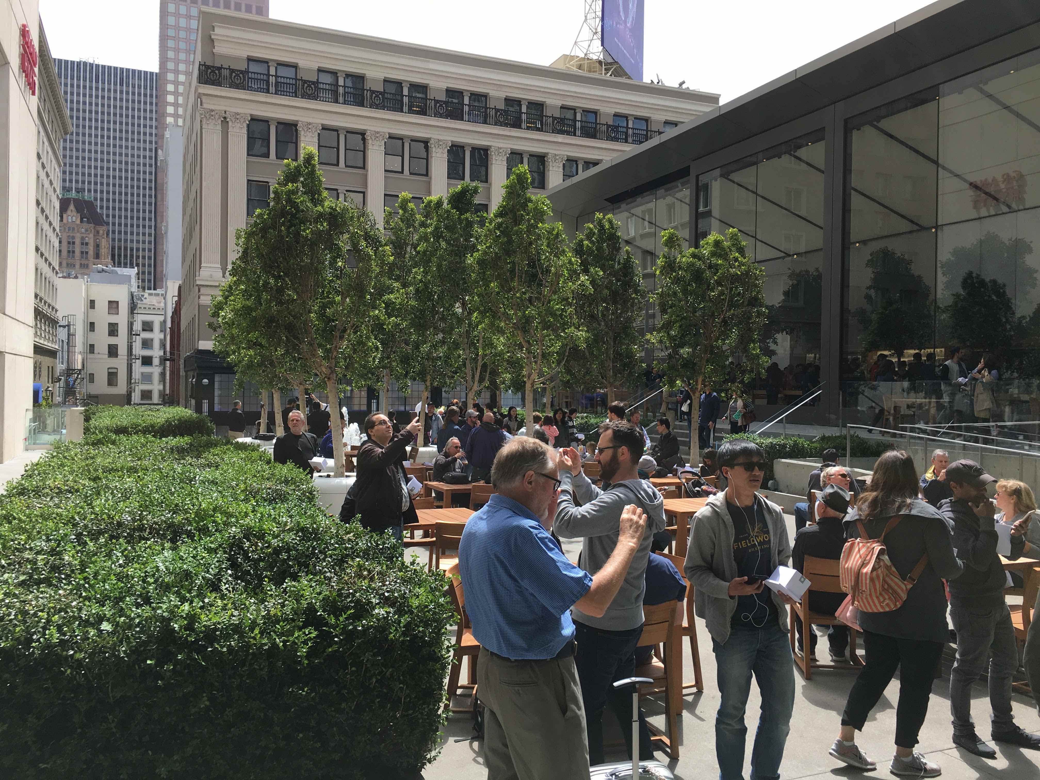 The Plaza at the new Apple Store in San Francisco's Union Square neighborhood.