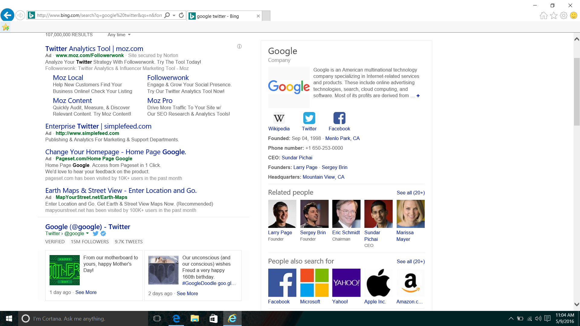 Tweets in Bing search results in Internet Explorer.