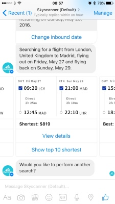 Skyscanner bots are being used to improve customer service for air travel.