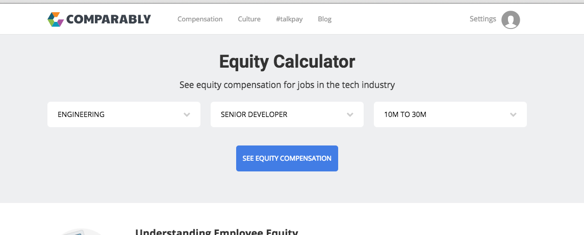 Comparably Tech Equity Calculator
