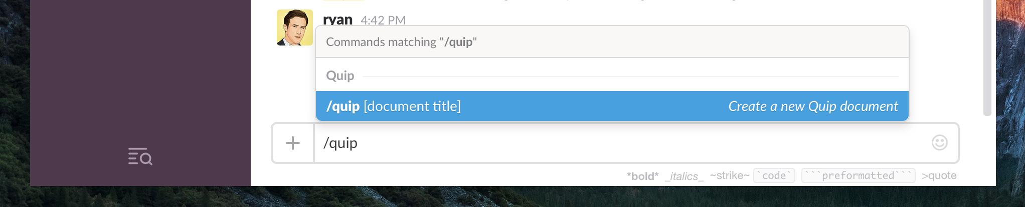 Create Quip Doc in Slack