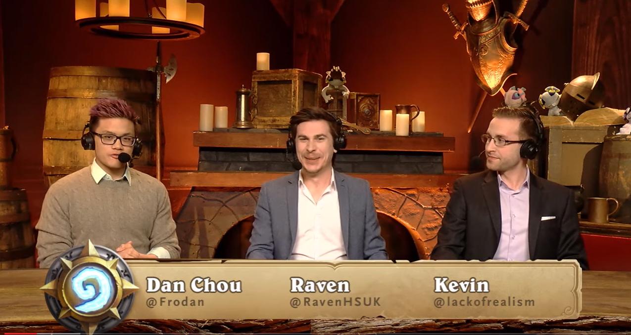 "Dan ""Frodan"" Chou (left), Alex ""Raven"" Baguley (center), and Kevin Hovdestaad cast a match."
