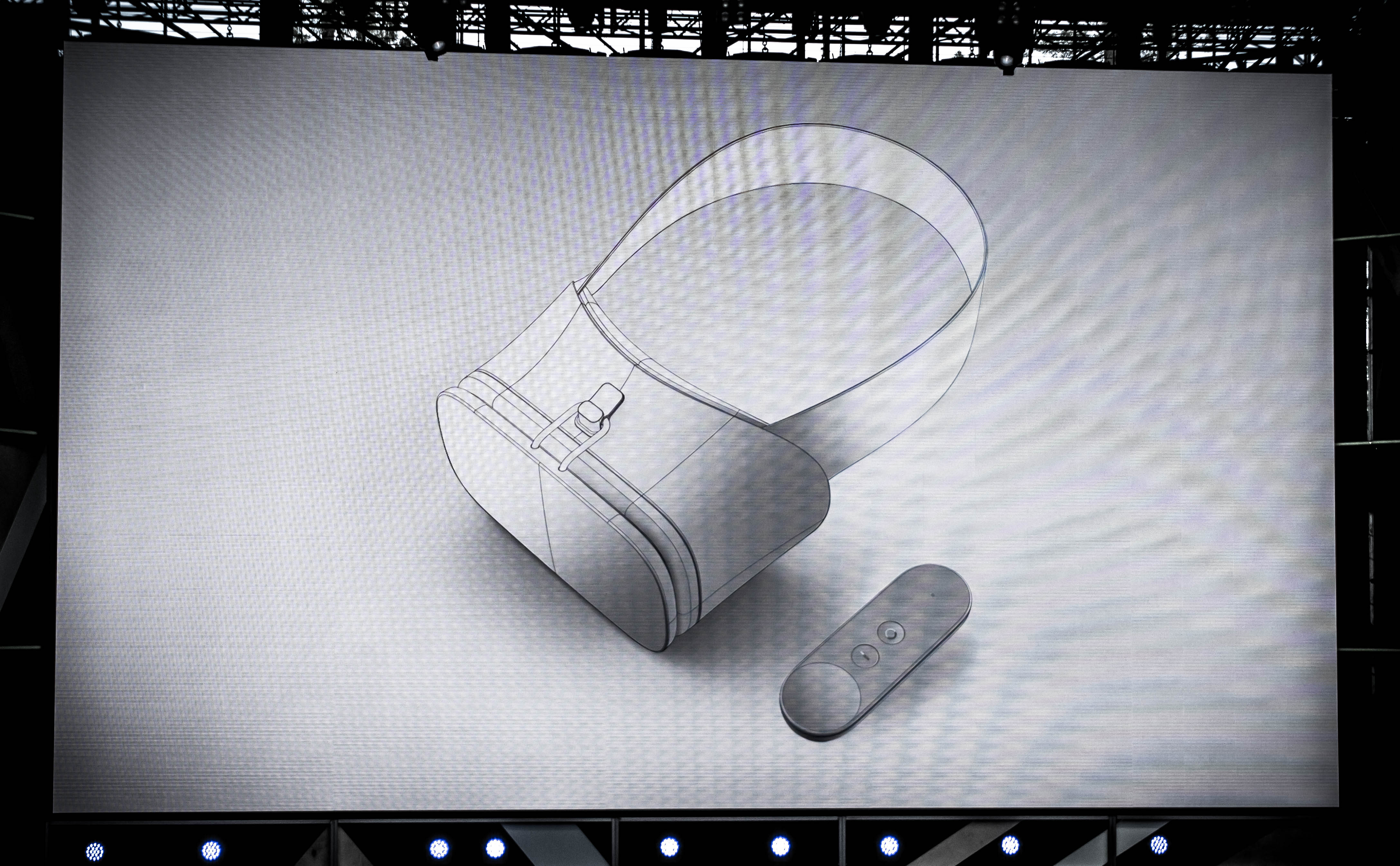 An illustration of a virtual reality headset produced on Google's Daydream platform shown on stage at the company's I/O developer conference on May 18, 2016 in Mountain View, Calif.